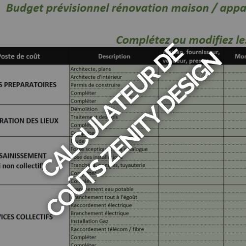 CALCULATEUR DE COÛTS ZENITY DESIGN